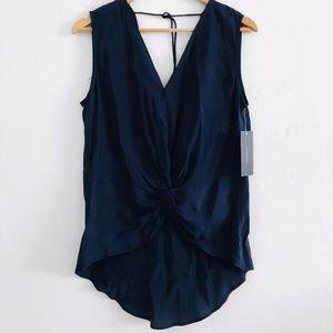 NWT Zara Navy Blue Sleevless Knot Blouse
